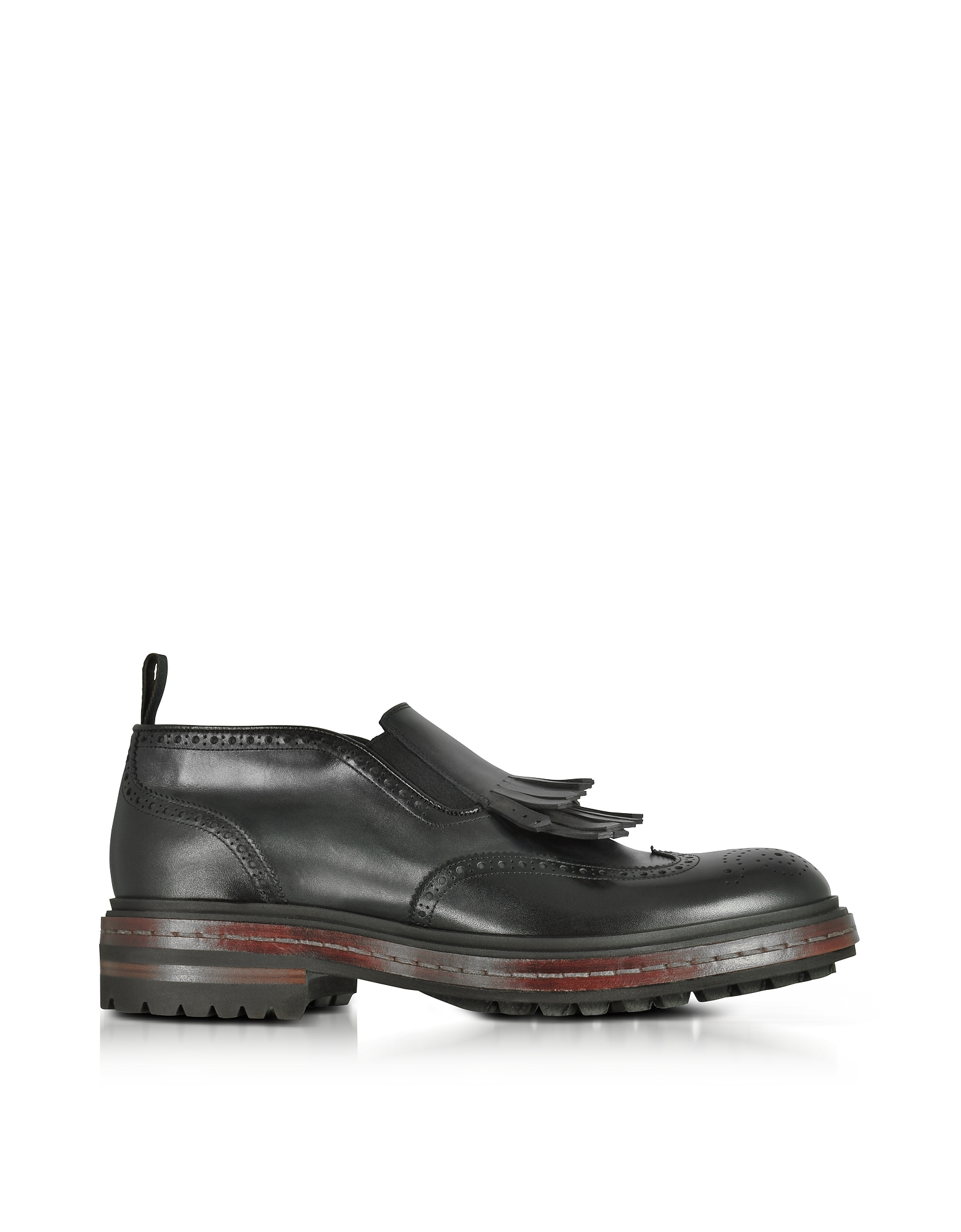 Santoni Shoes, Black Fringed Leather Ankle Boots