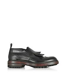 Black Fringed Leather Ankle Boots - Santoni