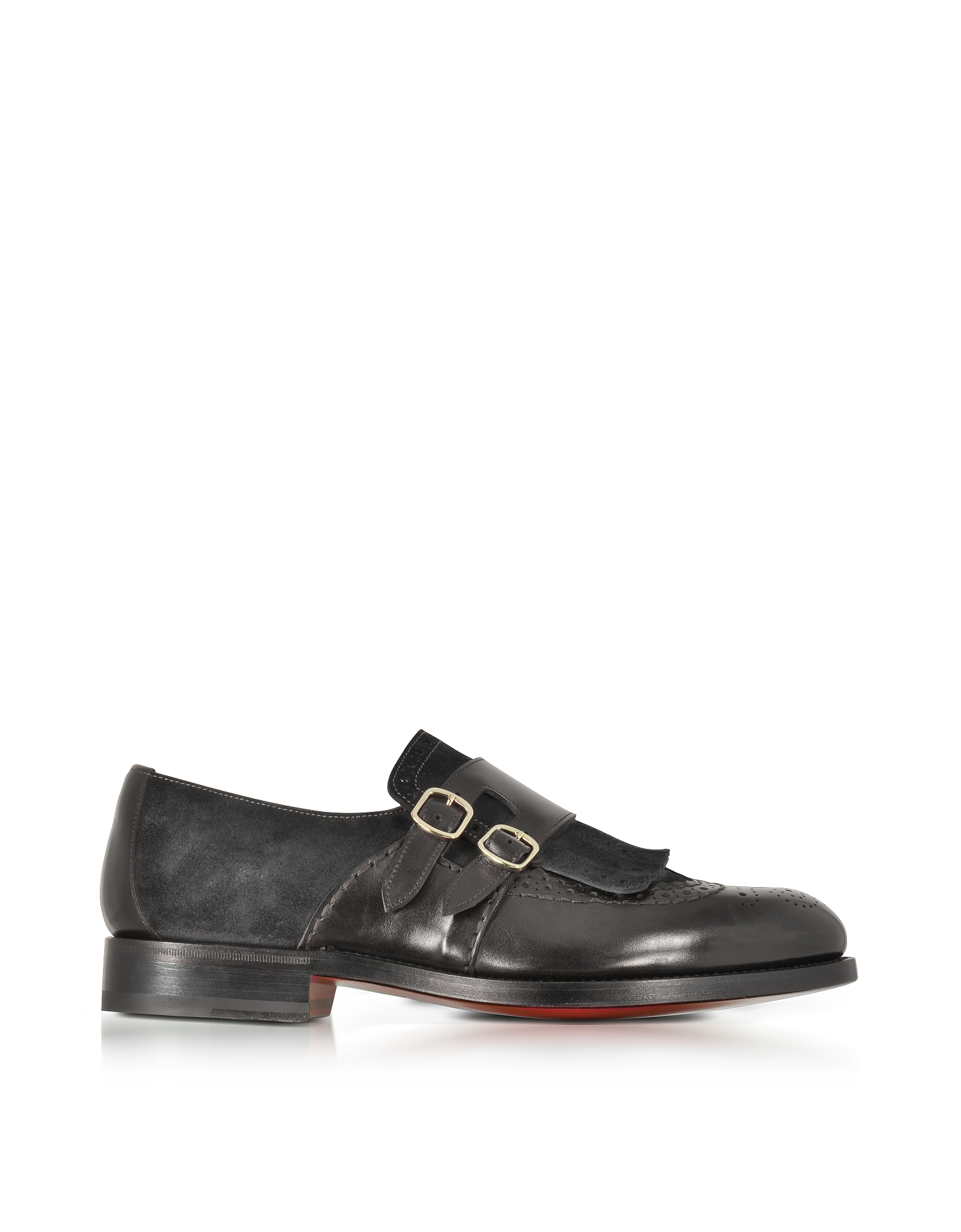 Santoni Shoes, Dark Brown Suede and Leather Double Monk Strap Shoes