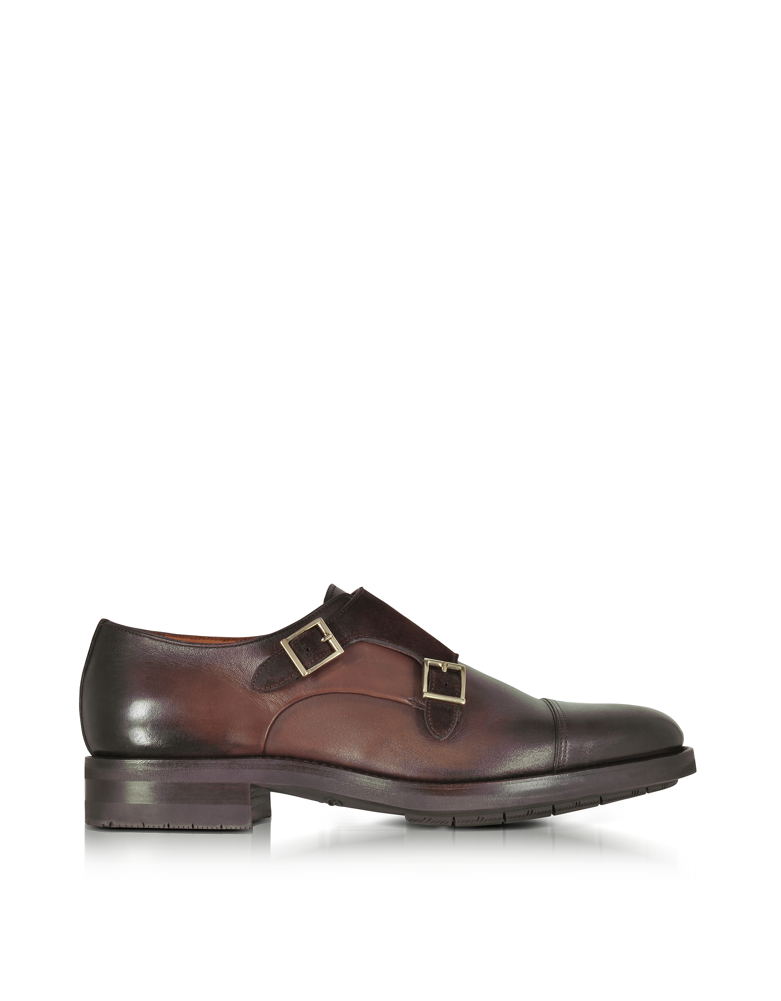 Santoni Shoes, Brown Suede and Leather Double Monk Strap Shoes