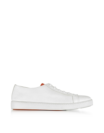 Santoni - Off White Hammered Leather Men's Sneakers