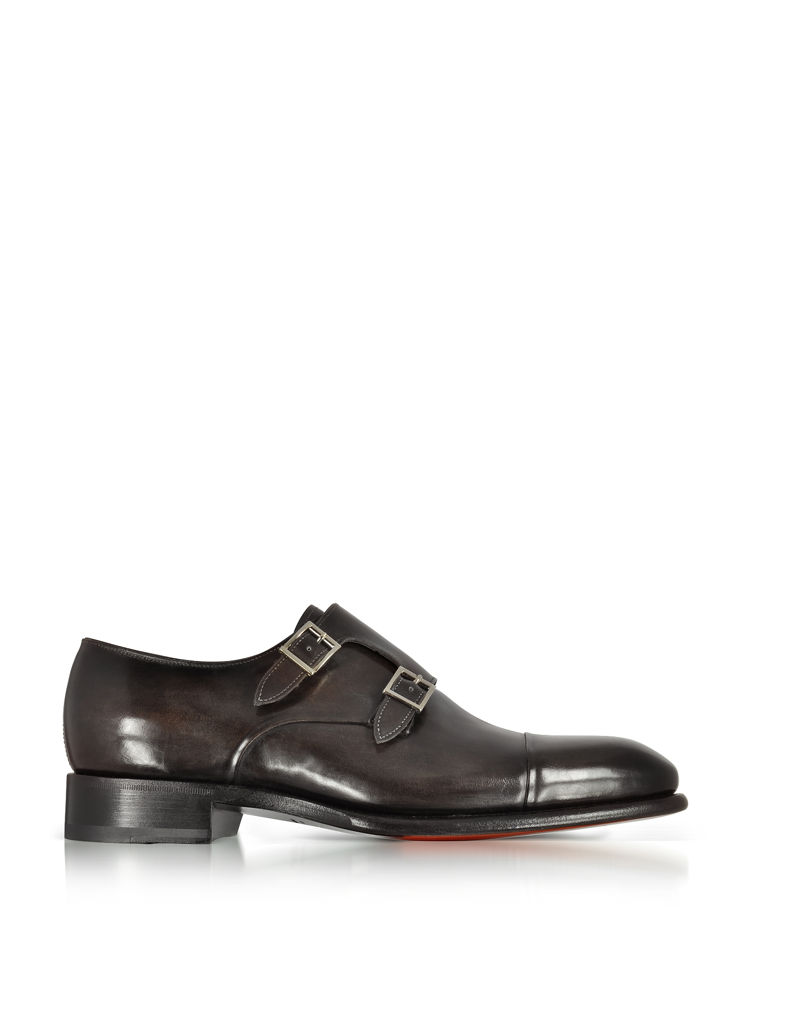 Фото Темно-коричневые Кожаные Туфли с Двойным Ремешком Спереди. Купить с доставкой