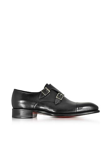 Santoni - Black Leather Double Monk Strap Shoes