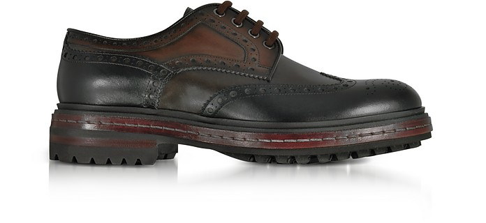 Dark Brown Wingtip Leather Derby Shoes - Santoni