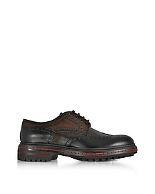 Dark Brown Wingtip Leather Derby Shoes - Santoni