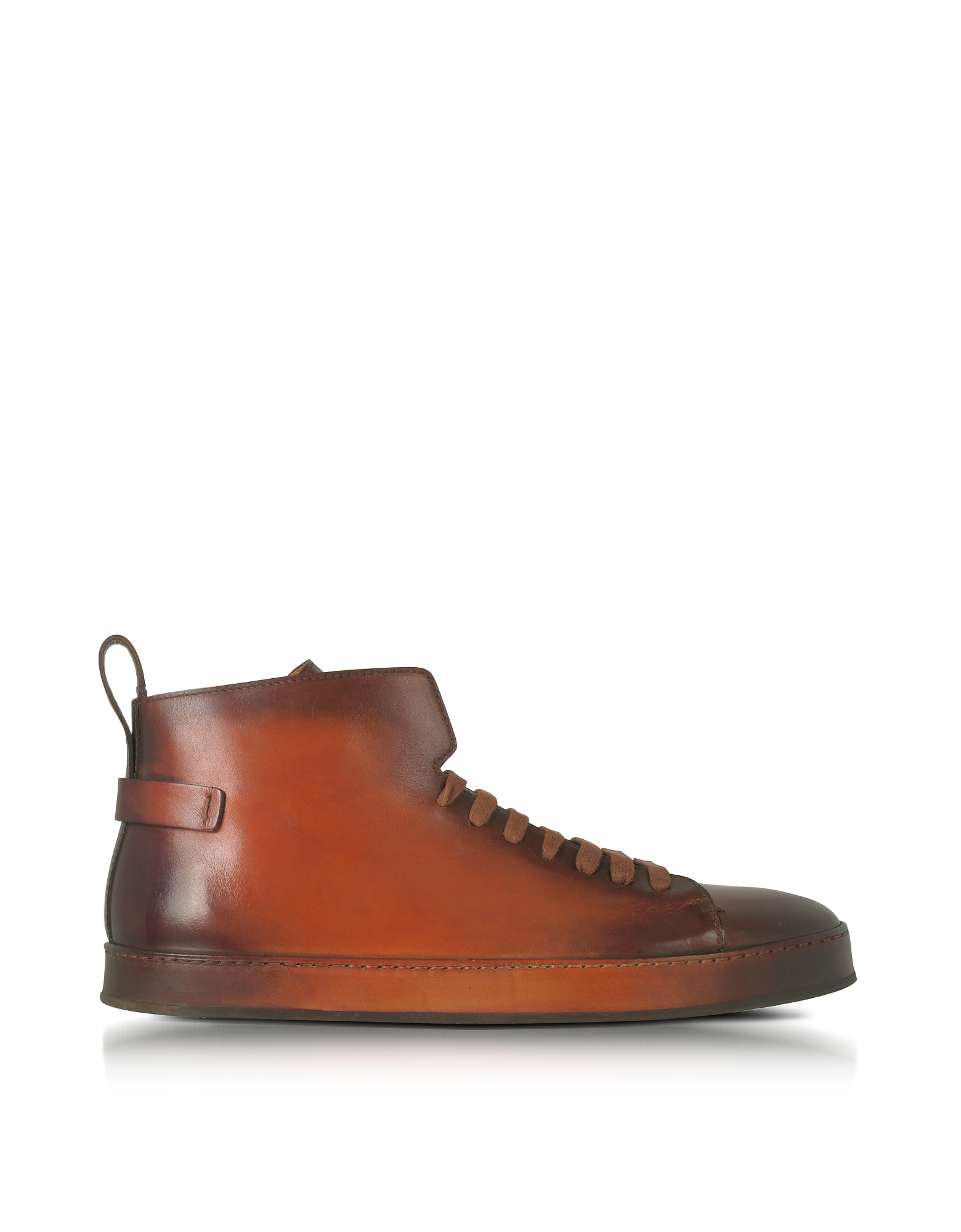 Santoni Shoes, Brown Leather High Top Sneakers