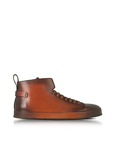 Brown Leather High Top Sneakers - Santoni