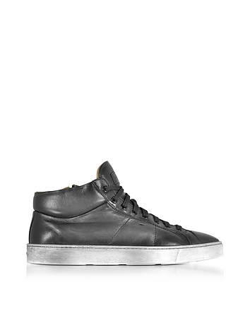 Santoni - Dark Gray Washed Leather High Top Men's Sneakers
