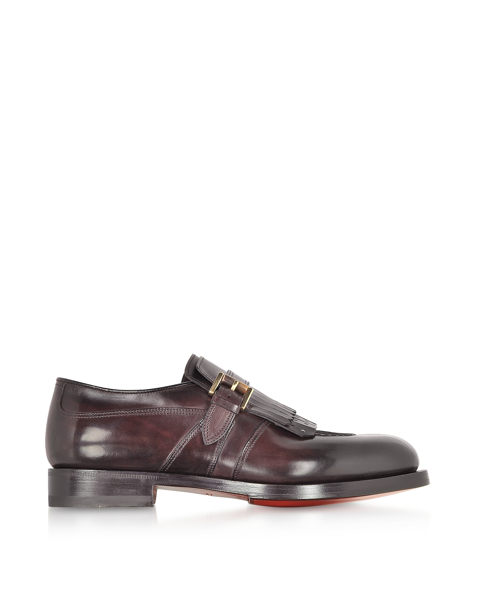 Santoni Designer Shoes, Burgundy Fringed Single Buckle Loafer Shoes