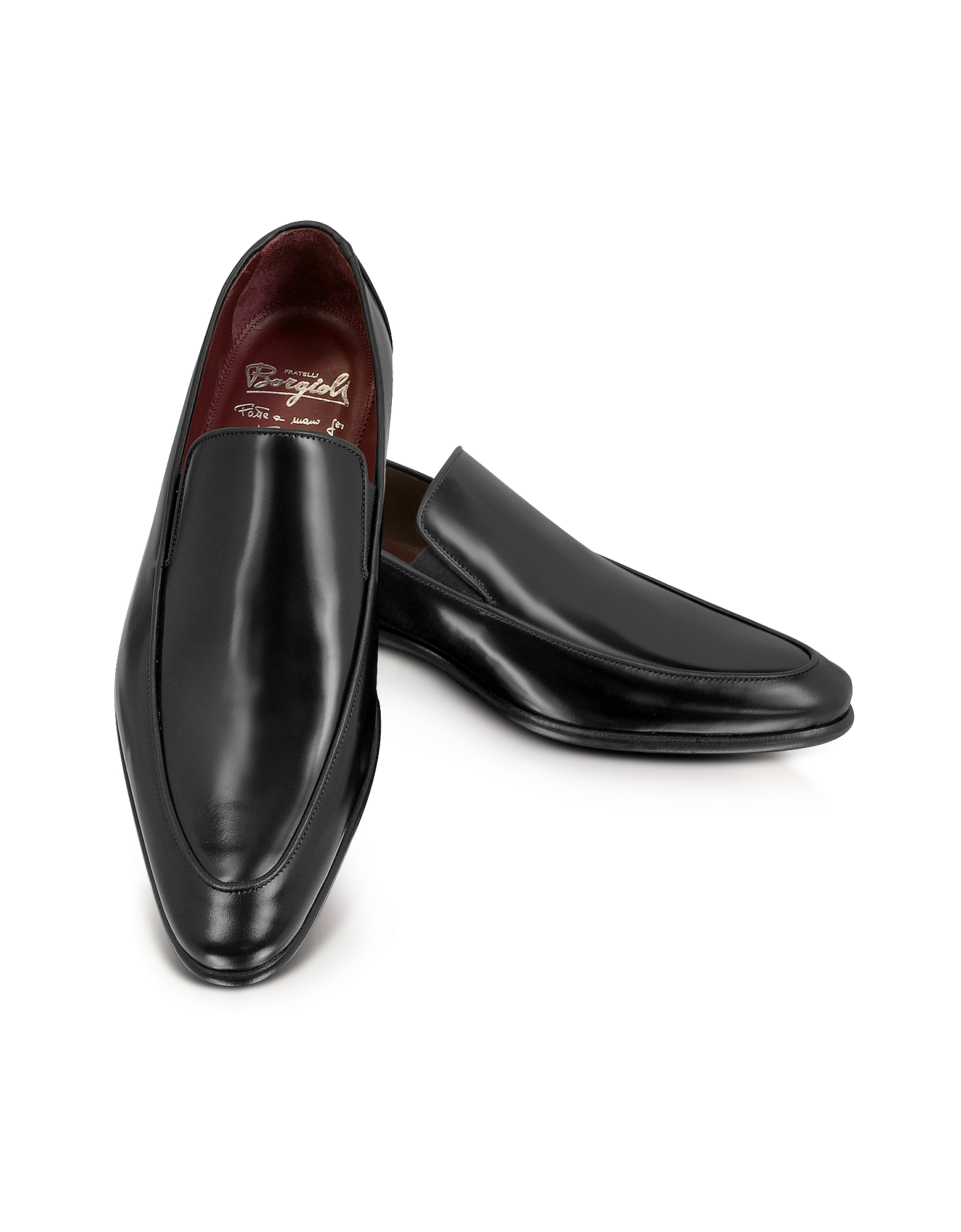 Fratelli Borgioli Shoes, Cricket Black Leather Loafer