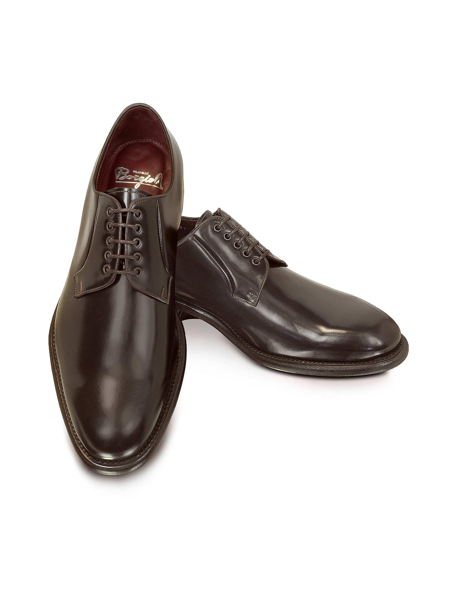 Fratelli Borgioli Shoes, Cricket - Shiny Brown Derby