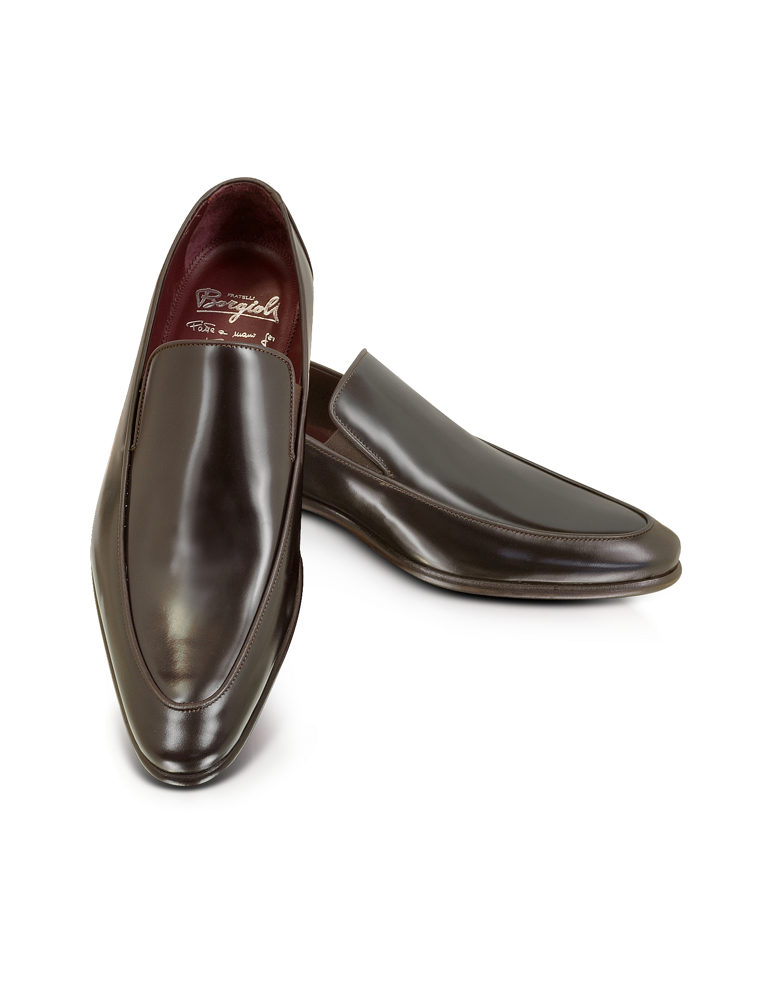 Image of Fratelli Borgioli Designer Shoes, Cricket Shiny Brown Loafer