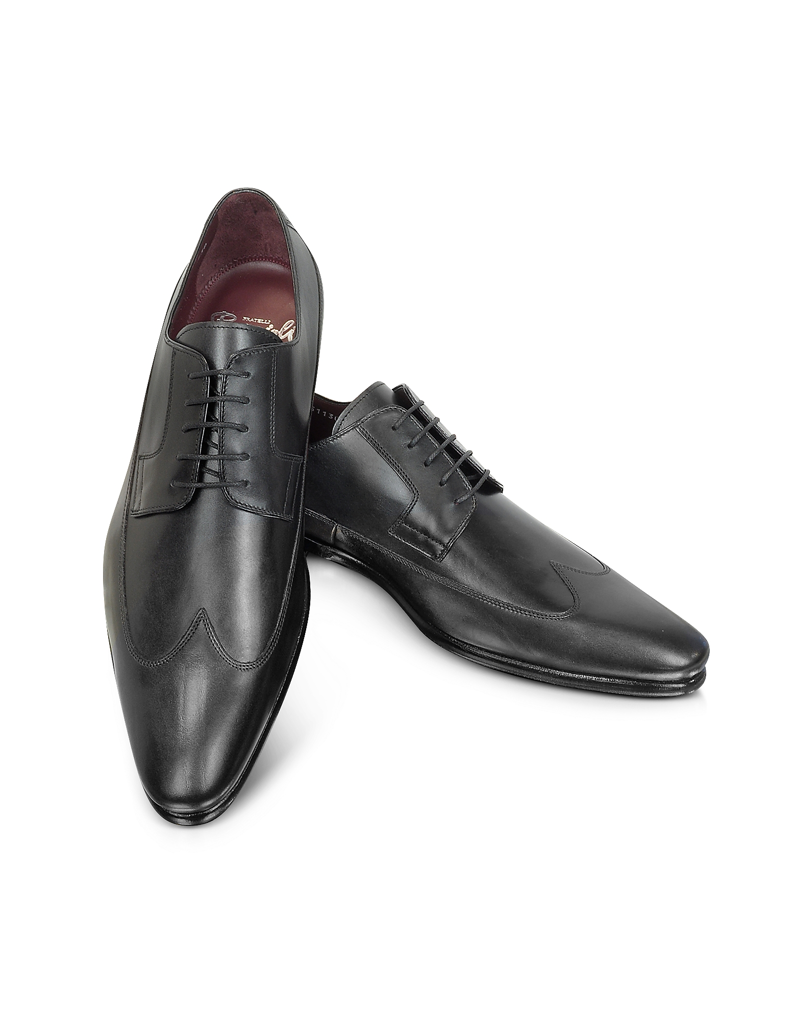 Fratelli Borgioli Shoes, Tamigi - Black Wingtip Derby