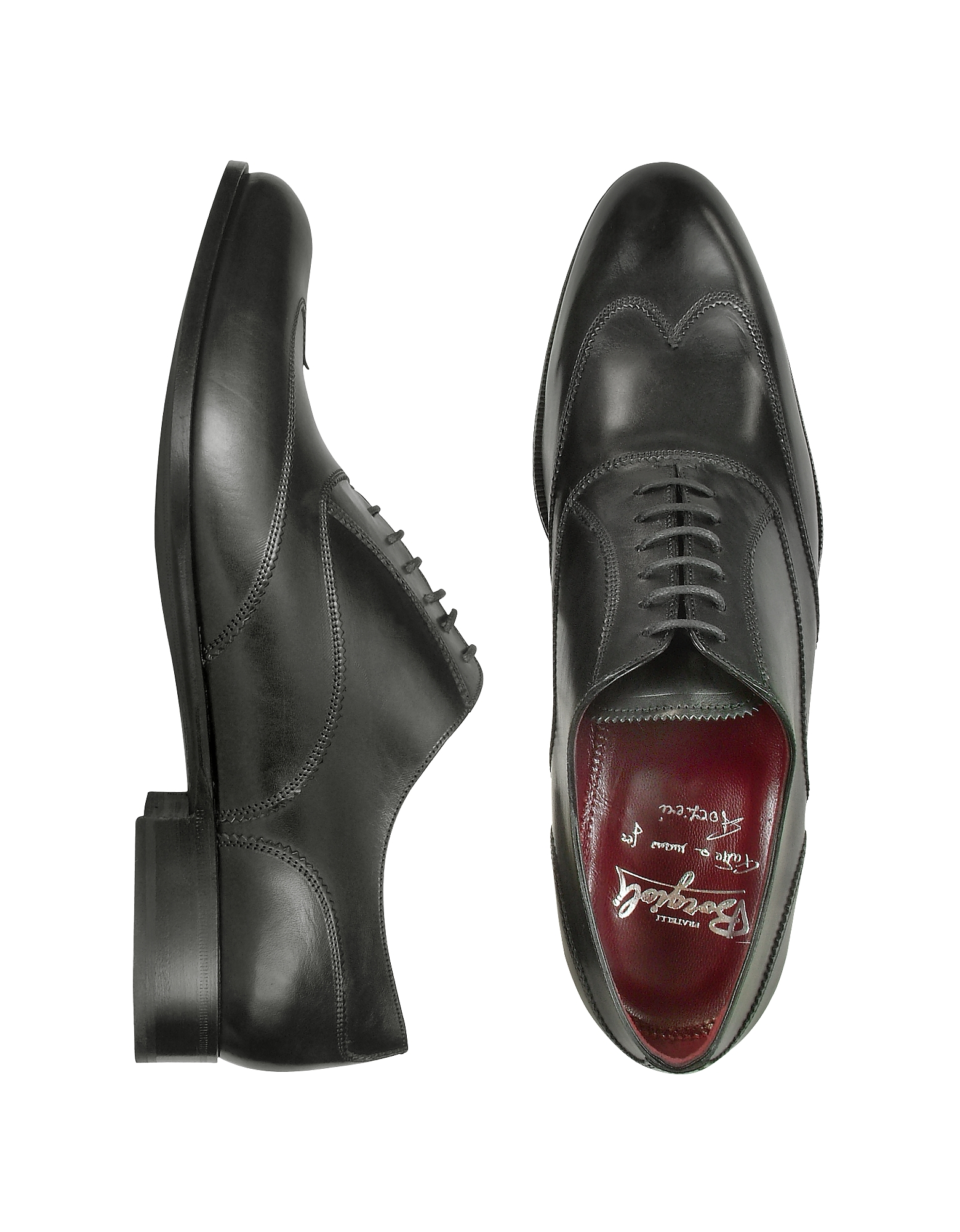 Fratelli Borgioli Shoes, Handmade Black Italian Leather Wingtip Oxford Shoes