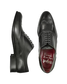 Handmade Black Italian Leather Wingtip Oxford Shoes  - Fratelli Borgioli