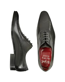 Handmade Black Italian Leather Wingtip Dress Shoes  - Fratelli Borgioli
