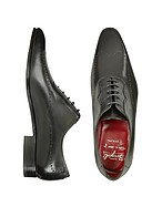 Lux-ID 208428 Handmade Black Italian Leather Wingtip Dress Shoes