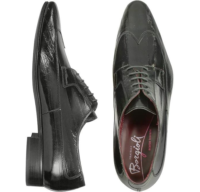 Handmade Black Eel Leather Wingtip Dress Shoes  - Fratelli Borgioli