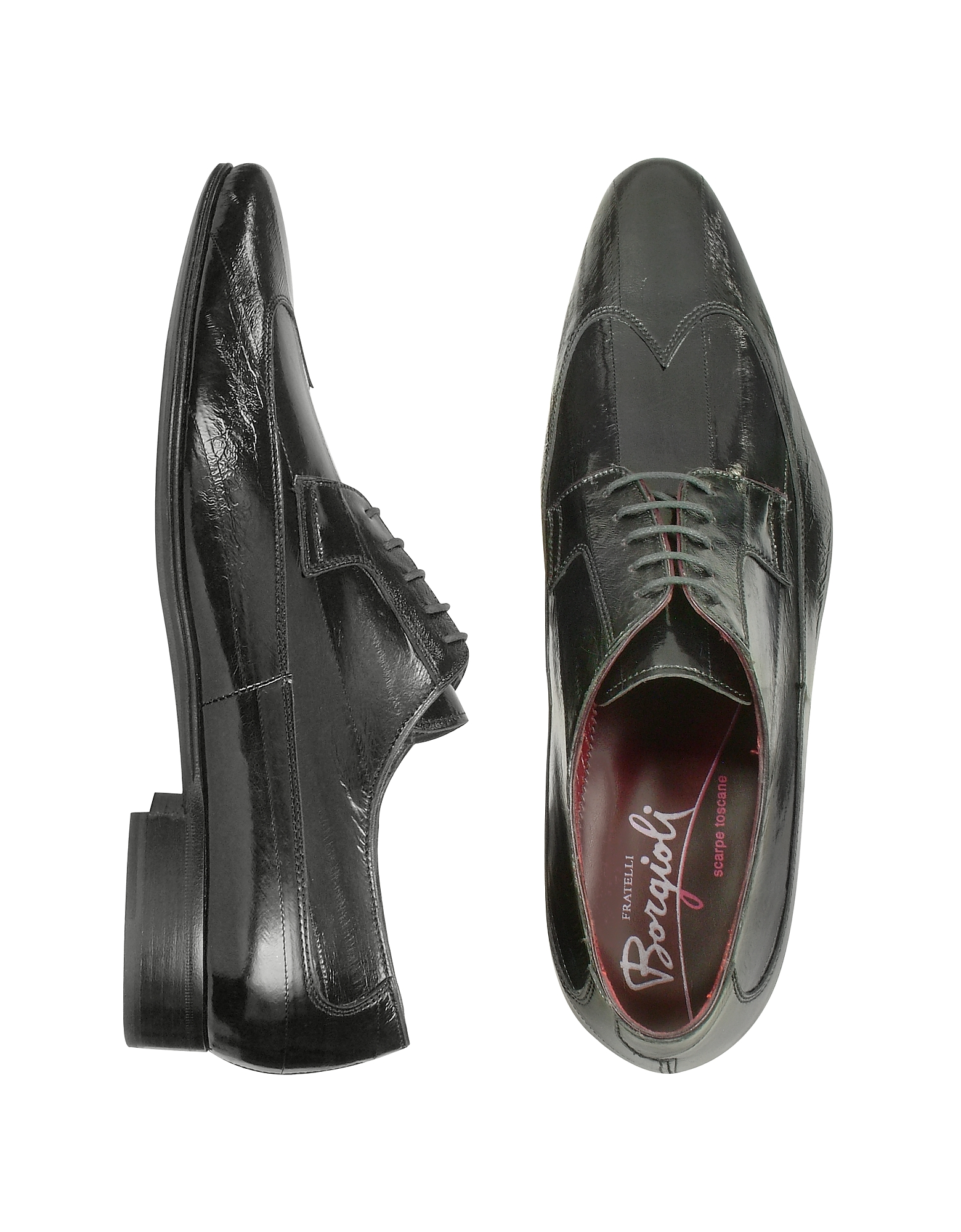 Fratelli Borgioli Shoes, Handmade Black Eel Leather Wingtip Dress Shoes