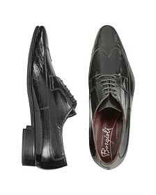 Handmade Black Eel Leather Wingtip Dress Shoes  - Fratelli Borgioli
