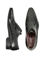 Lux-ID 208439 Handmade Black Eel Leather Wingtip Dress Shoes