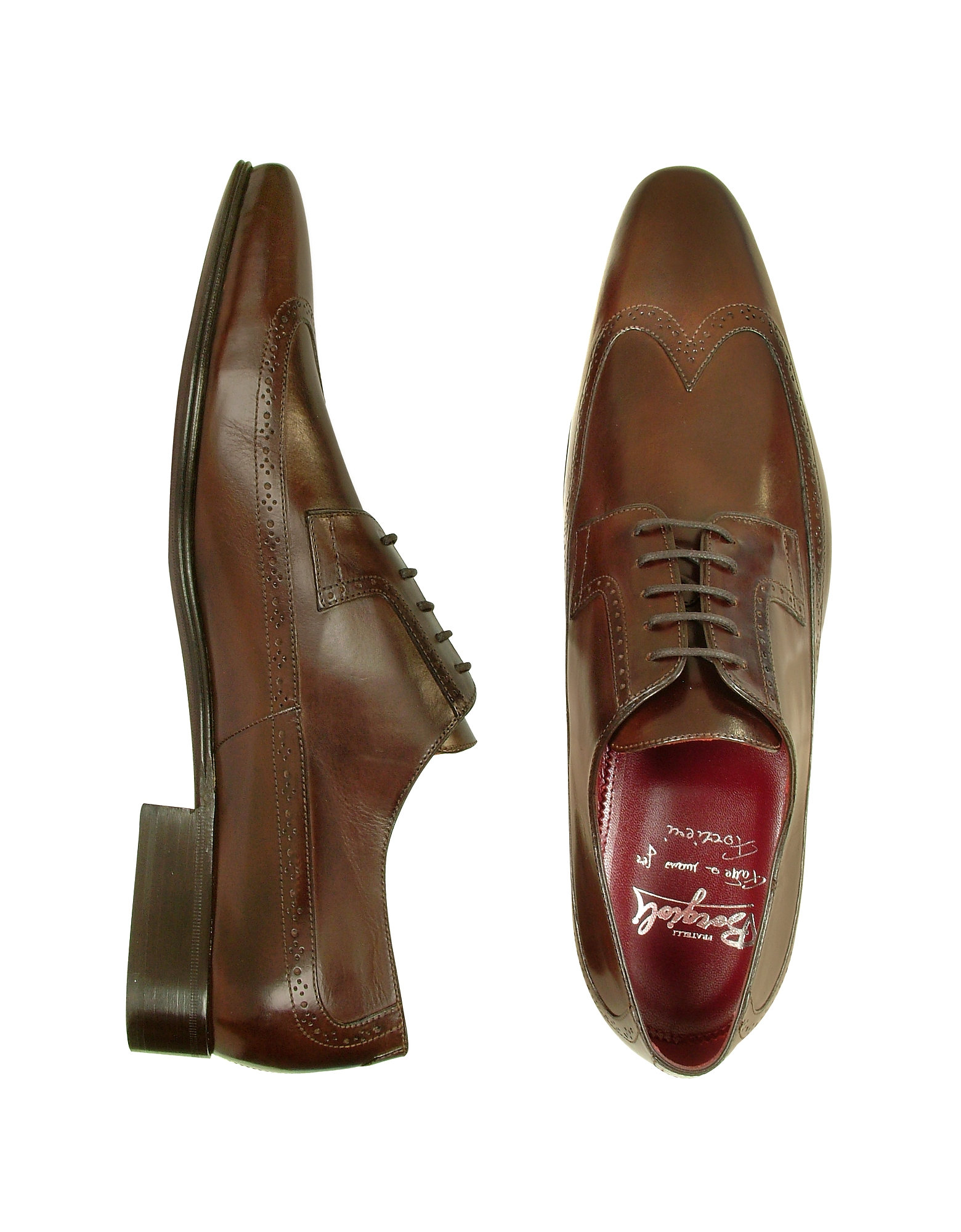 Fratelli Borgioli Shoes, Handmade Brown Italian Leather Wingtip Dress Shoes