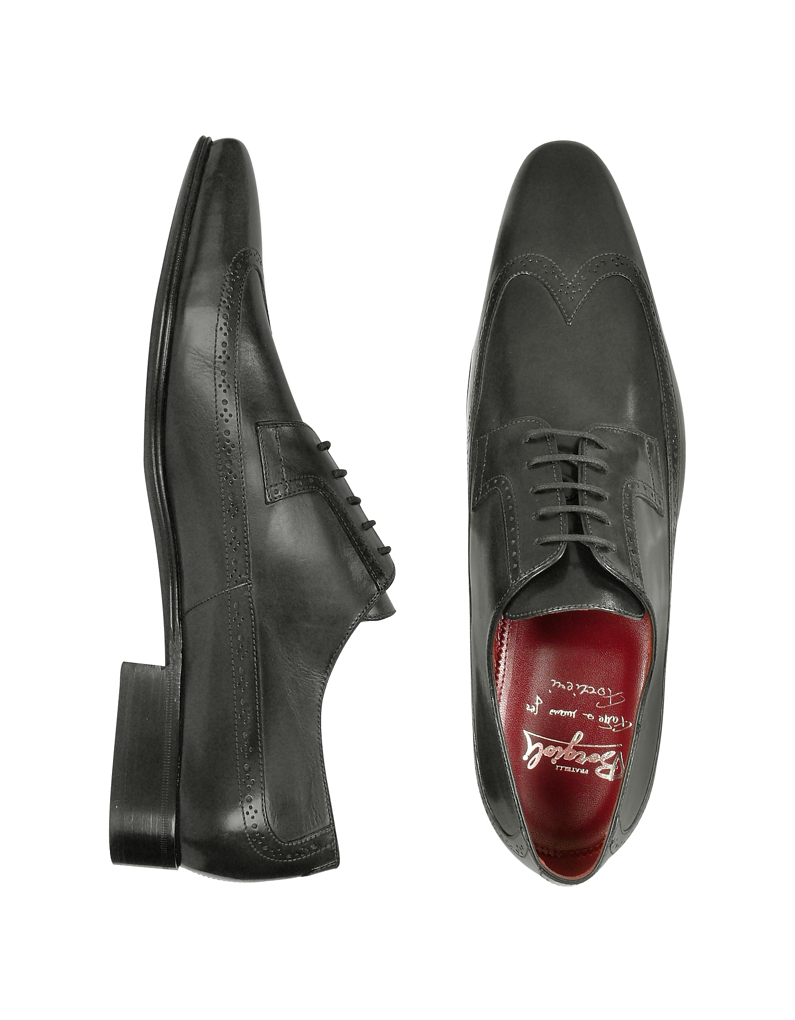 Fratelli Borgioli Shoes, Handmade Black Italian Leather Wingtip Dress Shoes