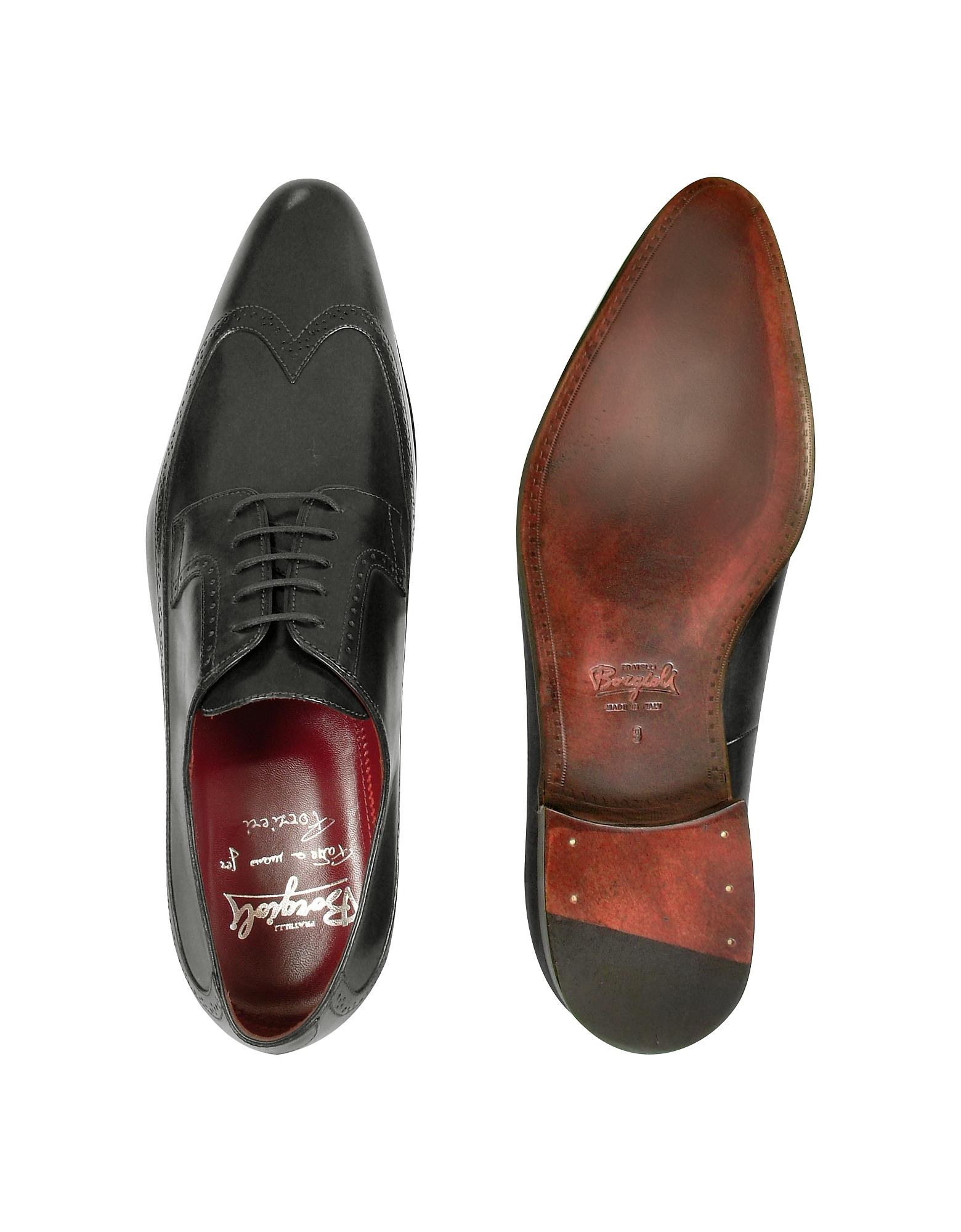 Фото Итальянские Черные Кожаные Костюмные Туфли Ручной Работы с Декорированным Мысом. Купить с доставкой