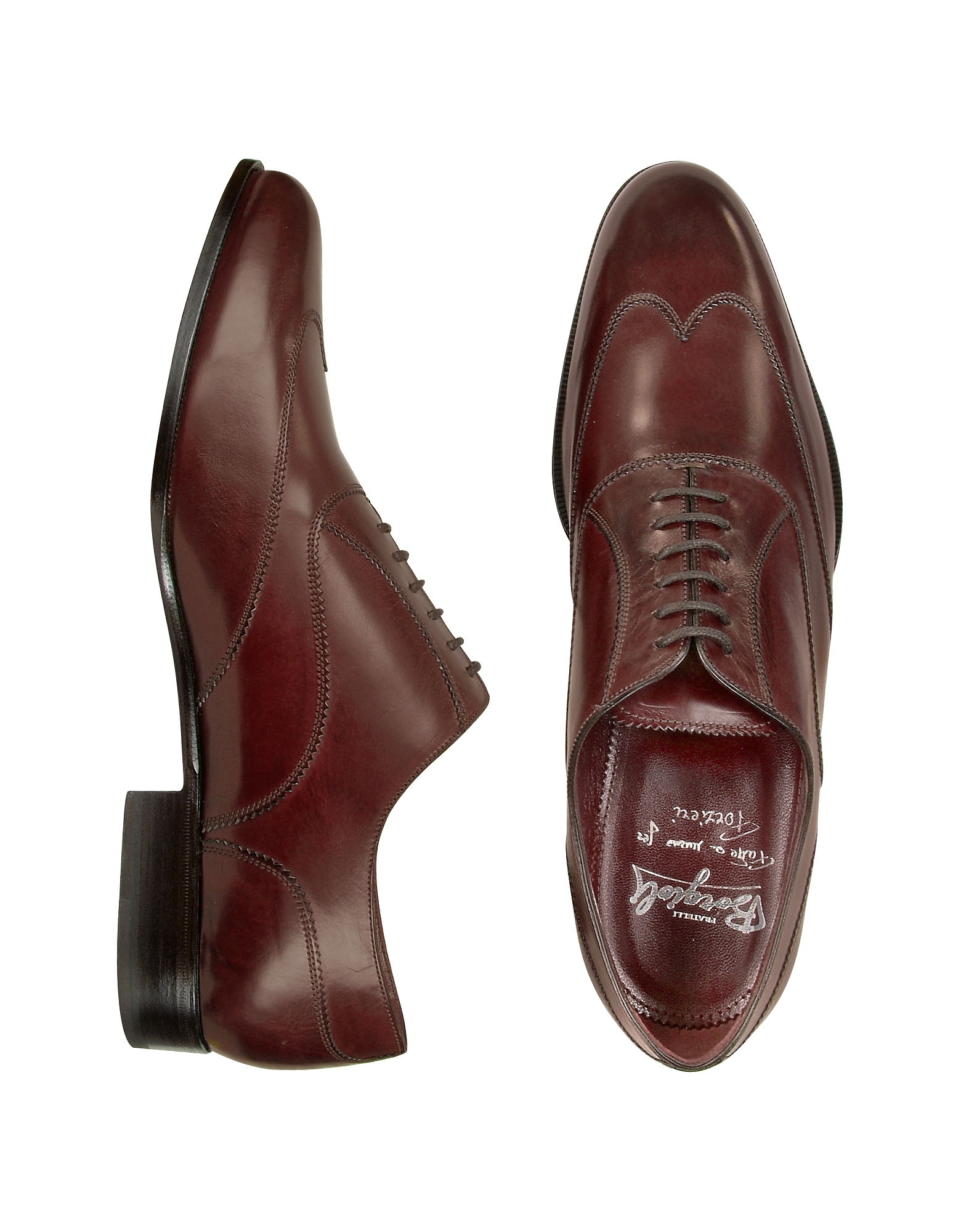 Fratelli Borgioli Shoes, Handmade Burgundy Italian Leather Wingtip Oxford Shoes