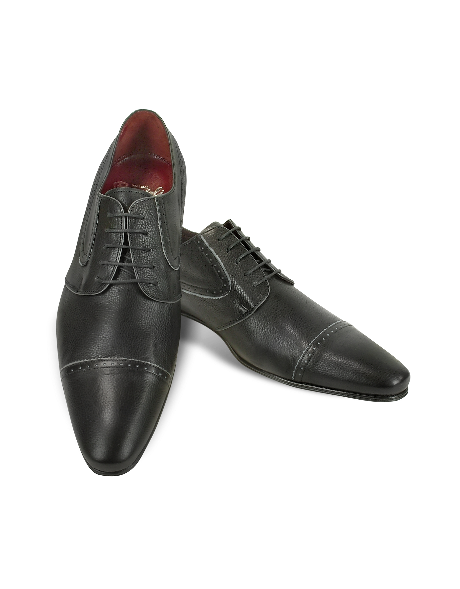 Fratelli Borgioli Shoes, Handmade Black Calf Leather Cap Toe Shoes