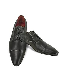Handmade Black Calf Leather Cap Toe Shoes  - Fratelli Borgioli