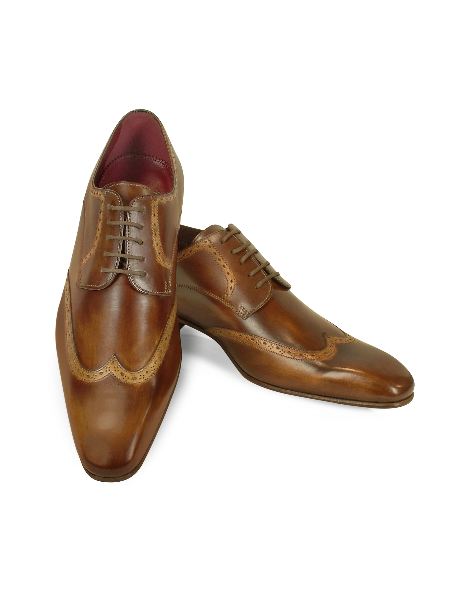 Fratelli Borgioli Shoes, Handmade Light Brown Italian Leather Wingtip Dress Shoes
