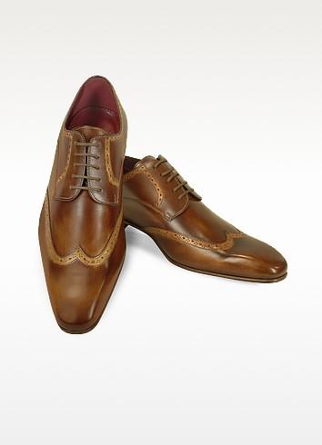 Fratelli Borgioli Итальянские Светло-коричневые Кожаные Туфли Ручной Работы с Декорированным Мысом