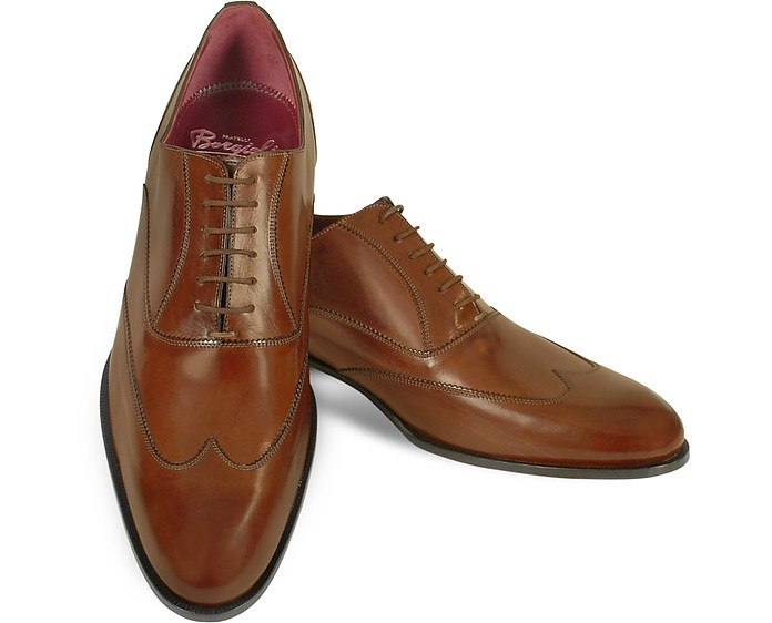 Handmade Brown Italian Leather Wingtip Oxford Shoes  - Fratelli Borgioli