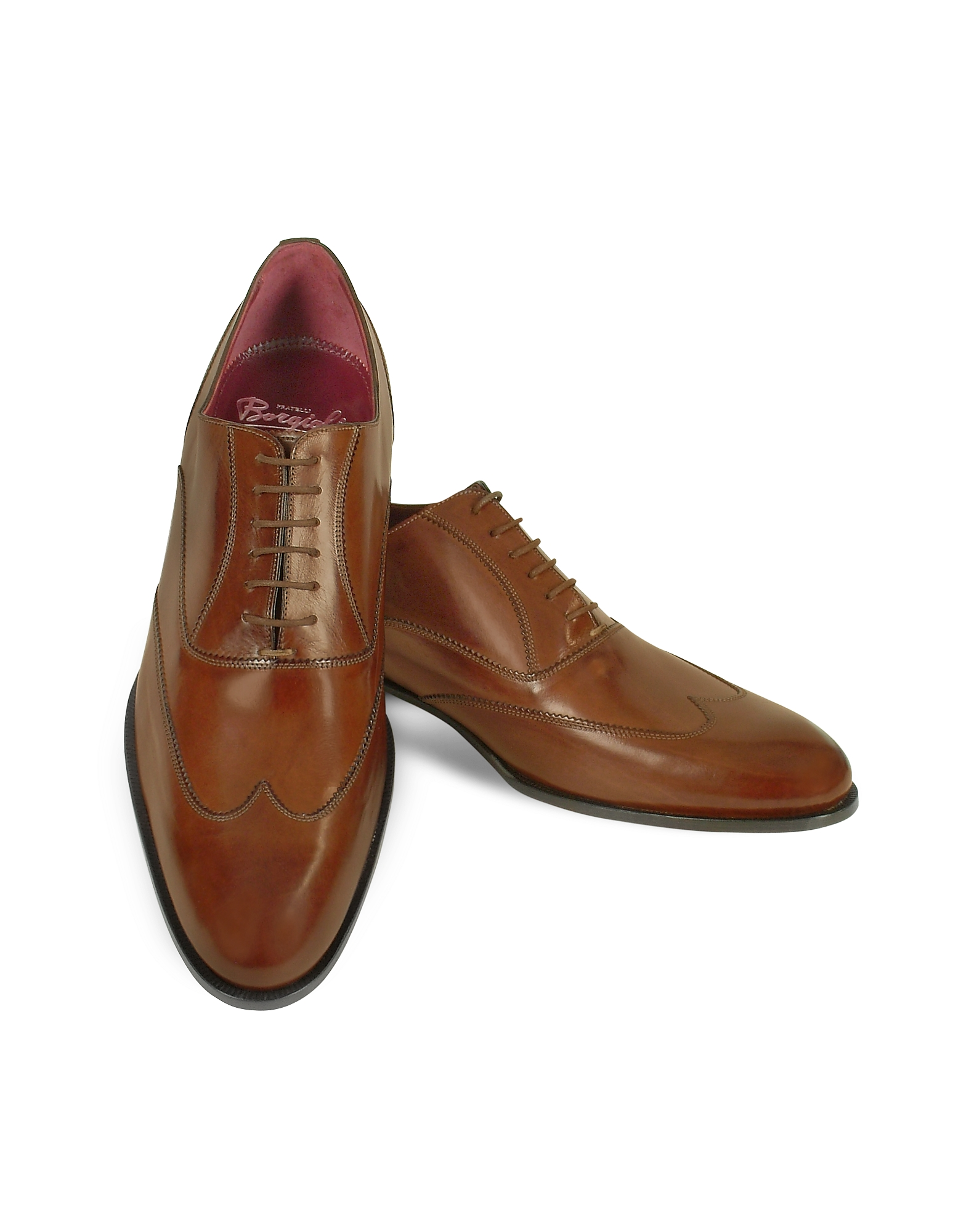 Fratelli Borgioli Shoes, Handmade Brown Italian Leather Wingtip Oxford Shoes