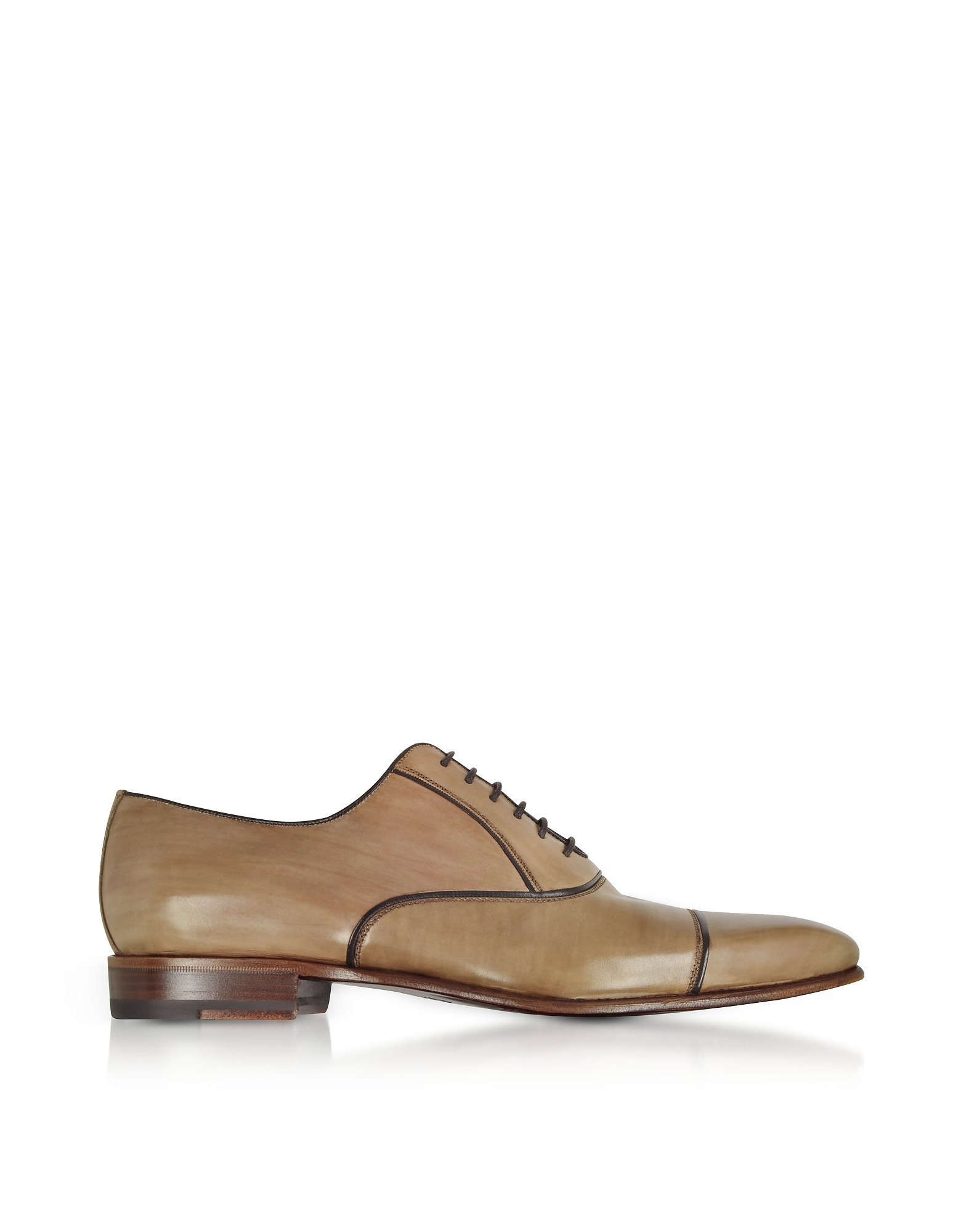 Fratelli Borgioli Shoes, Cenere Brown Leather Oxford Shoes