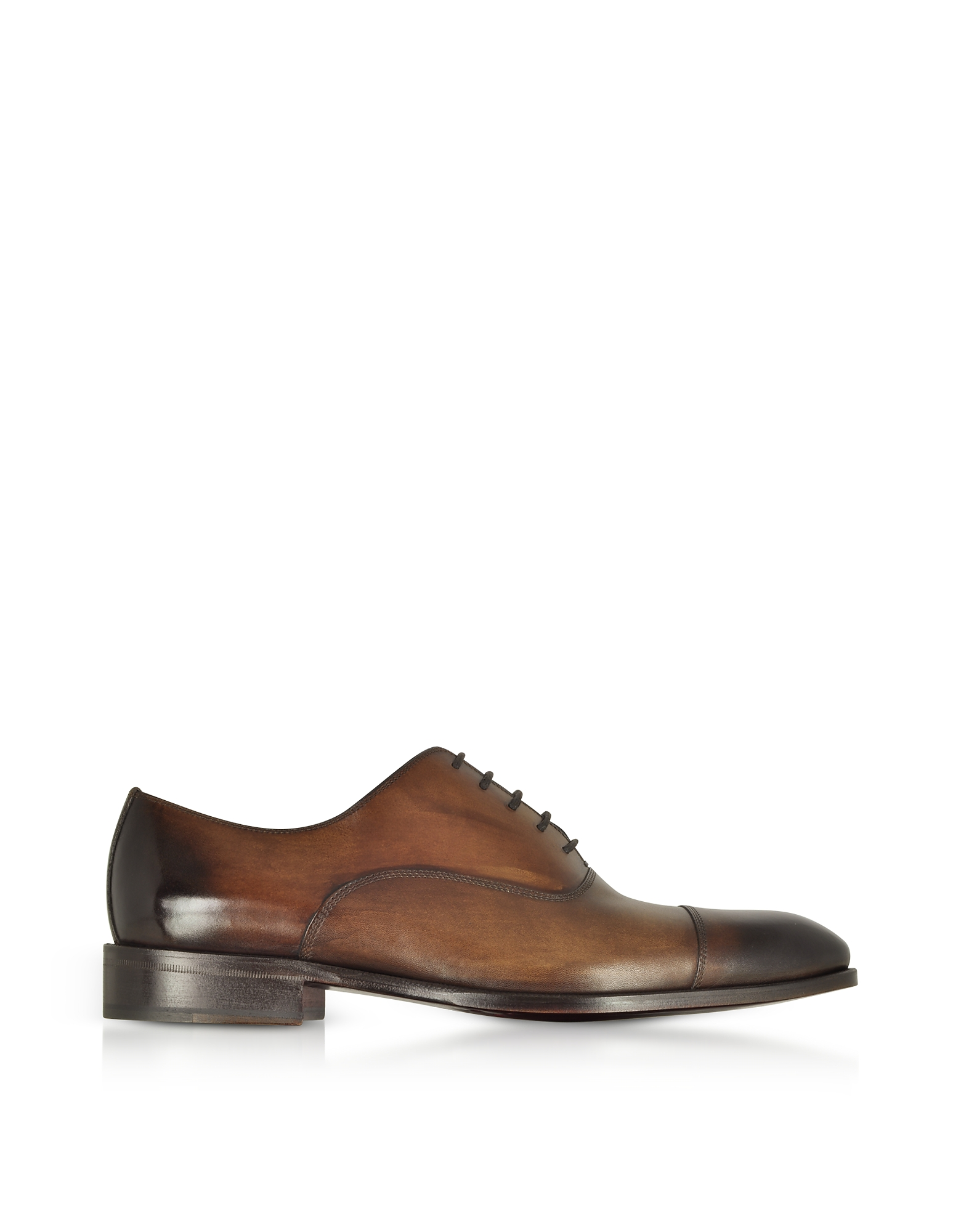 Image of Fratelli Borgioli Designer Shoes, Shaded Dark Brown Leather Oxford Shoes