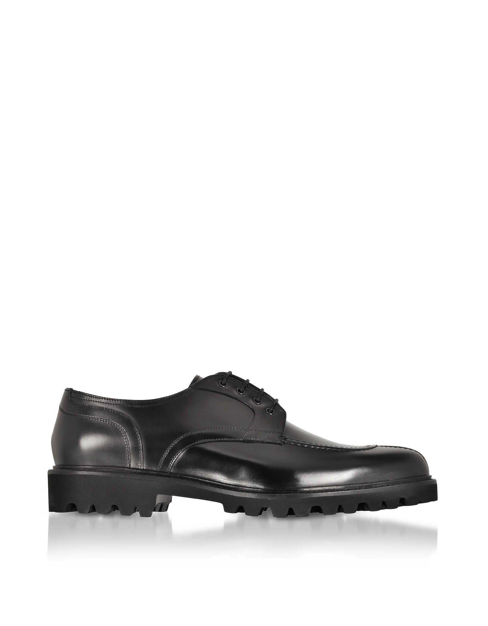 Fratelli Borgioli Designer Shoes, Black Leather Casual Derby Extralight Sole