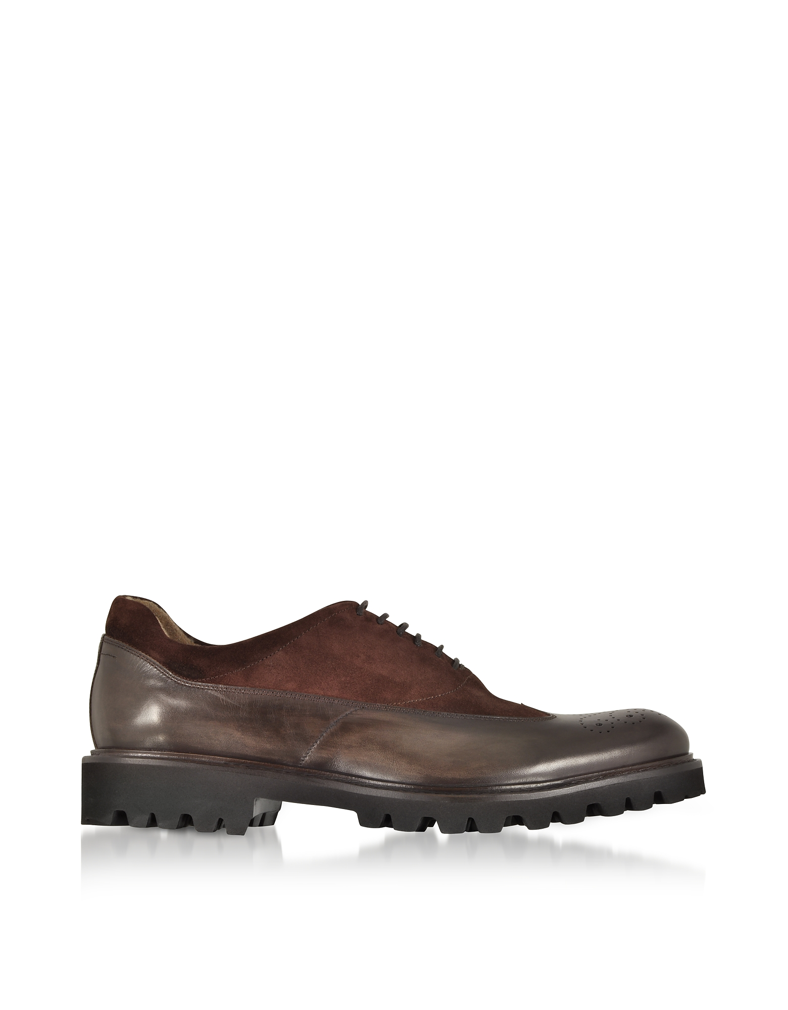 Fratelli Borgioli Shoes, Ebony Leather and Suede Oxford Shoes