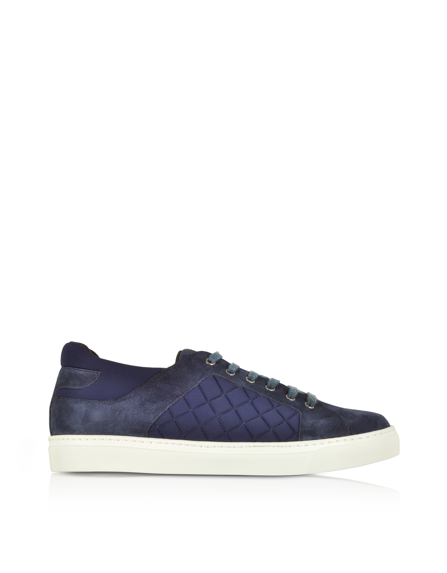 Fratelli Borgioli Shoes, Navy Blue Suede and Quilted Nylon Men's Sneakers
