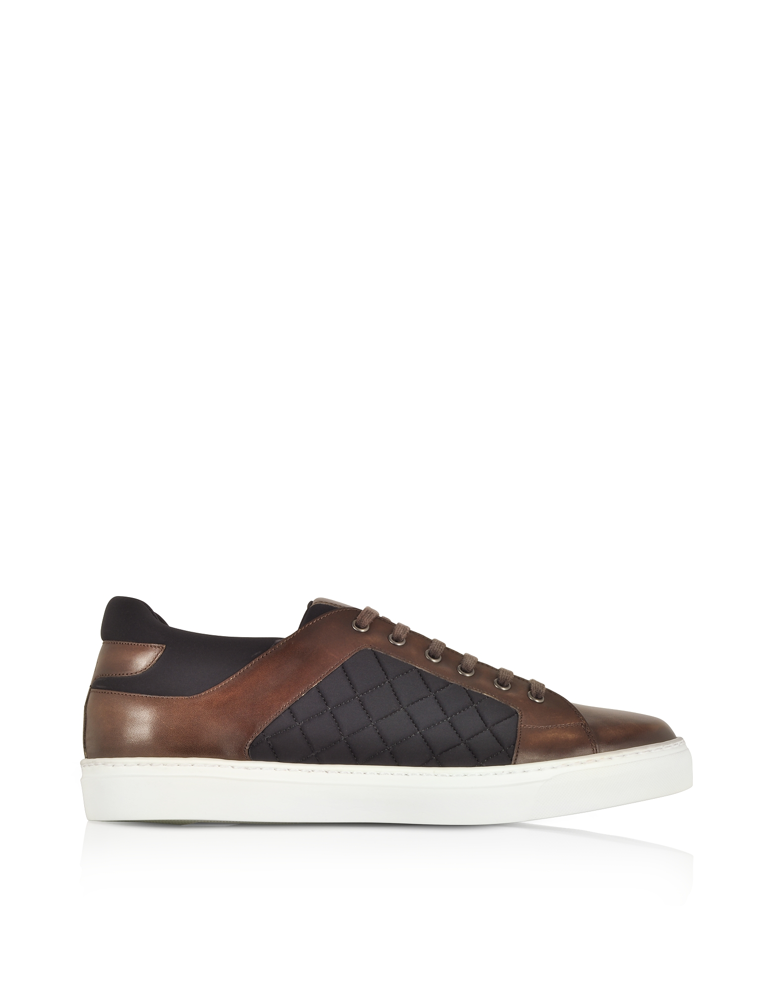 Coffee Brown Leather and Quilted Nylon Men's Sneakers
