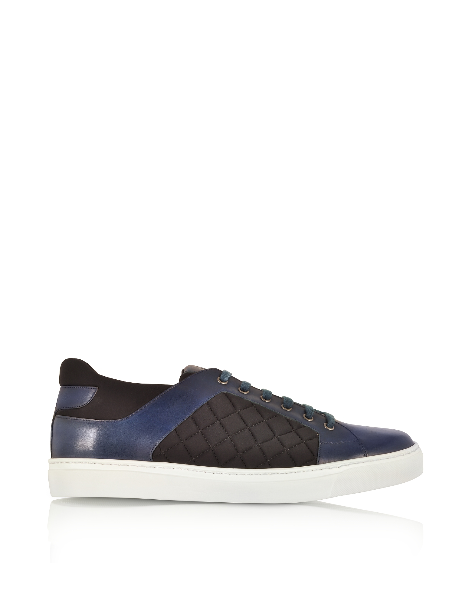 Navy Blue Leather and Black Quilted Nylon Men's Sneakers