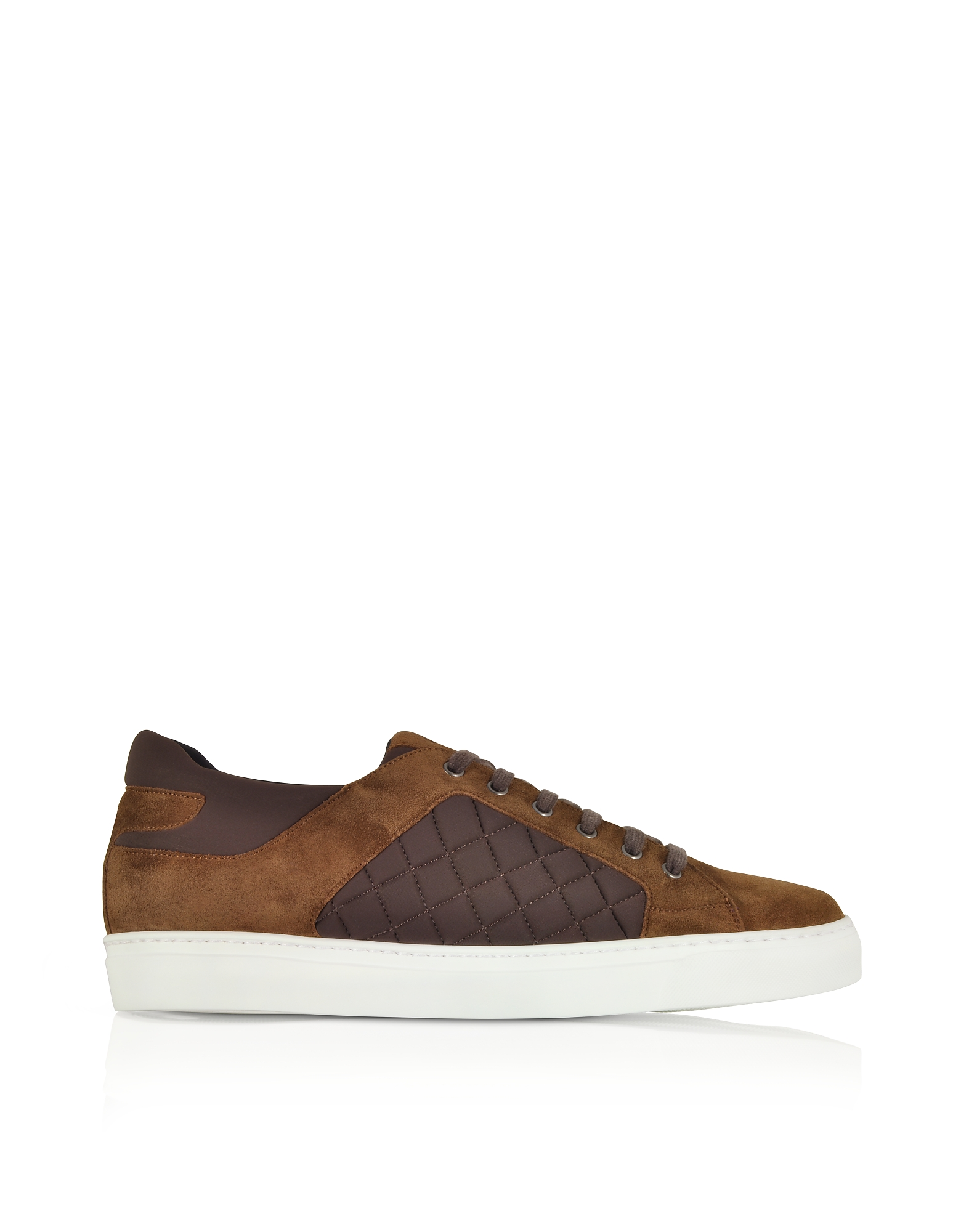 Cigar Brown Suede and Quilted Nylon Men's Sneakers