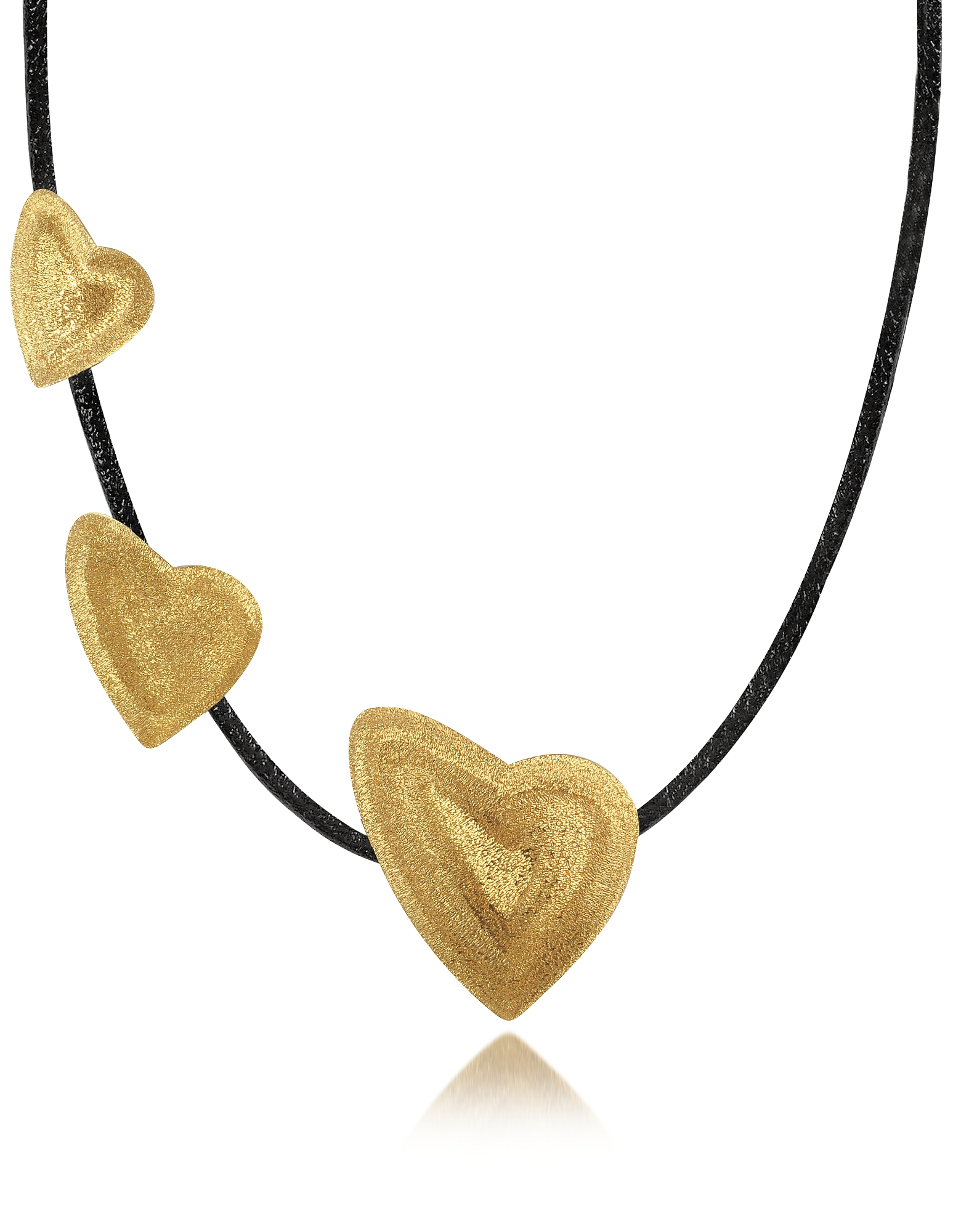 Тройная Подвеска-Сердечки из Отчеканенного Золотистого Серебра на Кожаном Шнурке