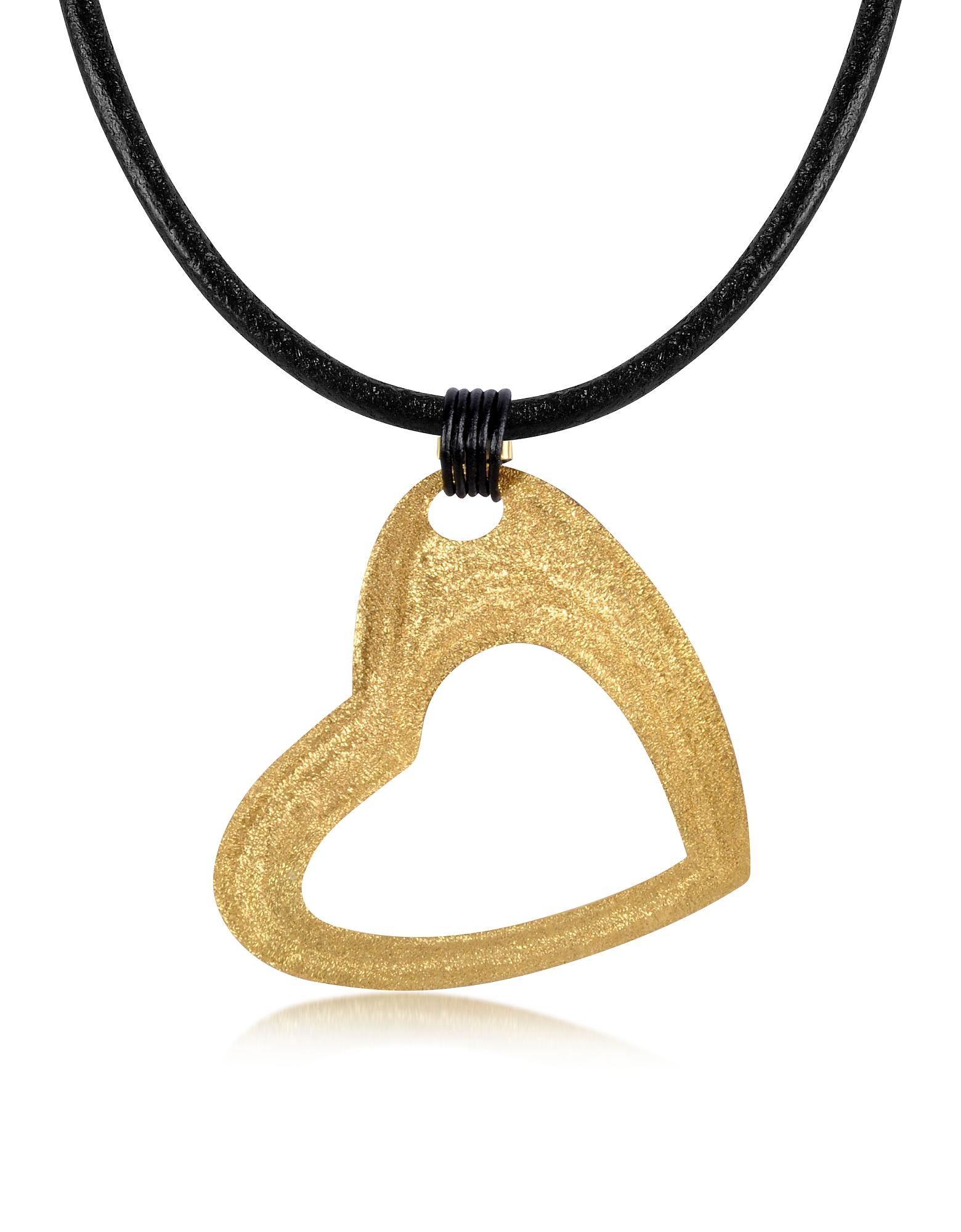 Большая Подвеска-Сердце из Отчеканенного Золотистого Серебра на Кожаном Шнурке