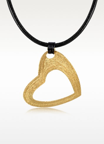 Etched Golden Silver Large Heart Pendant w/Leather Lace - Stefano Patriarchi