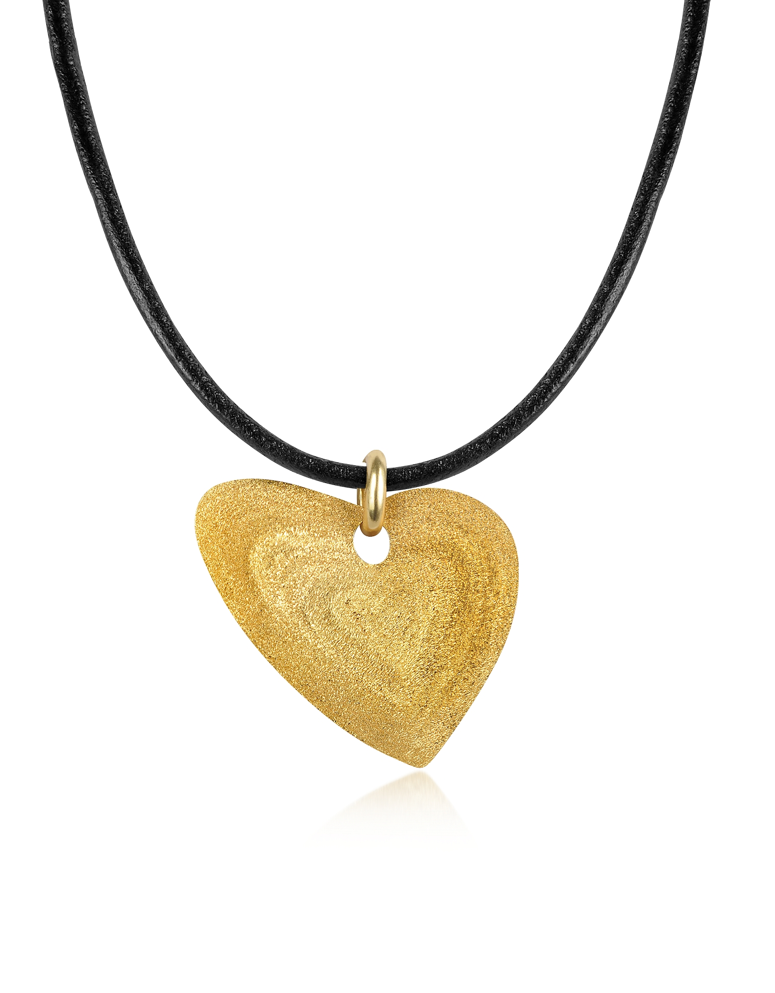 Stefano Patriarchi Necklaces, Etched Golden Silver Small Heart Pendant w/Leather Lace