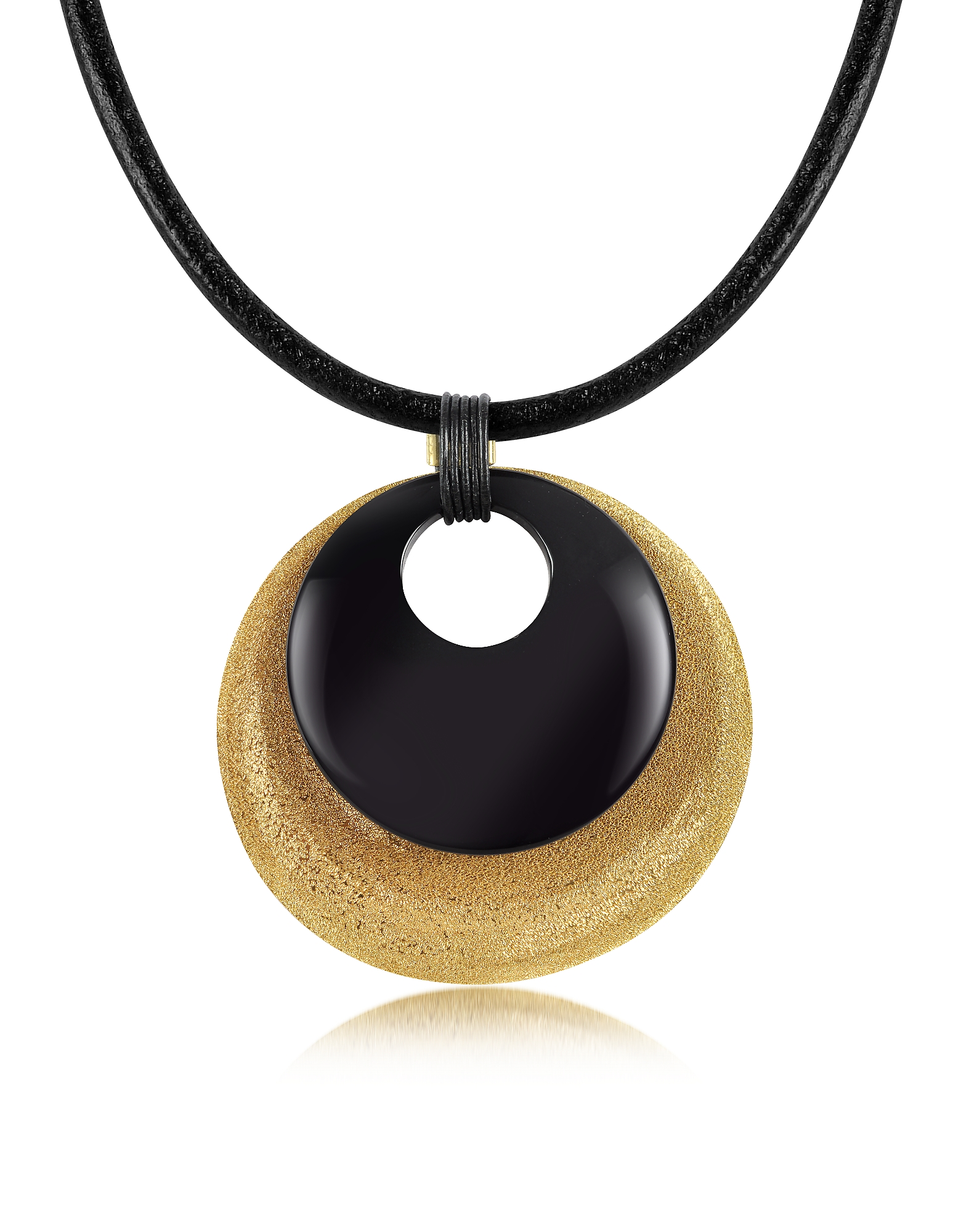 Stefano Patriarchi Necklaces, Etched Golden Silver and Onyx Round Pendant w/Leather Lace