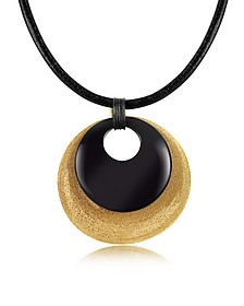 Etched Golden Silver and Onyx Round Pendant w/Leather Lace - Stefano Patriarchi