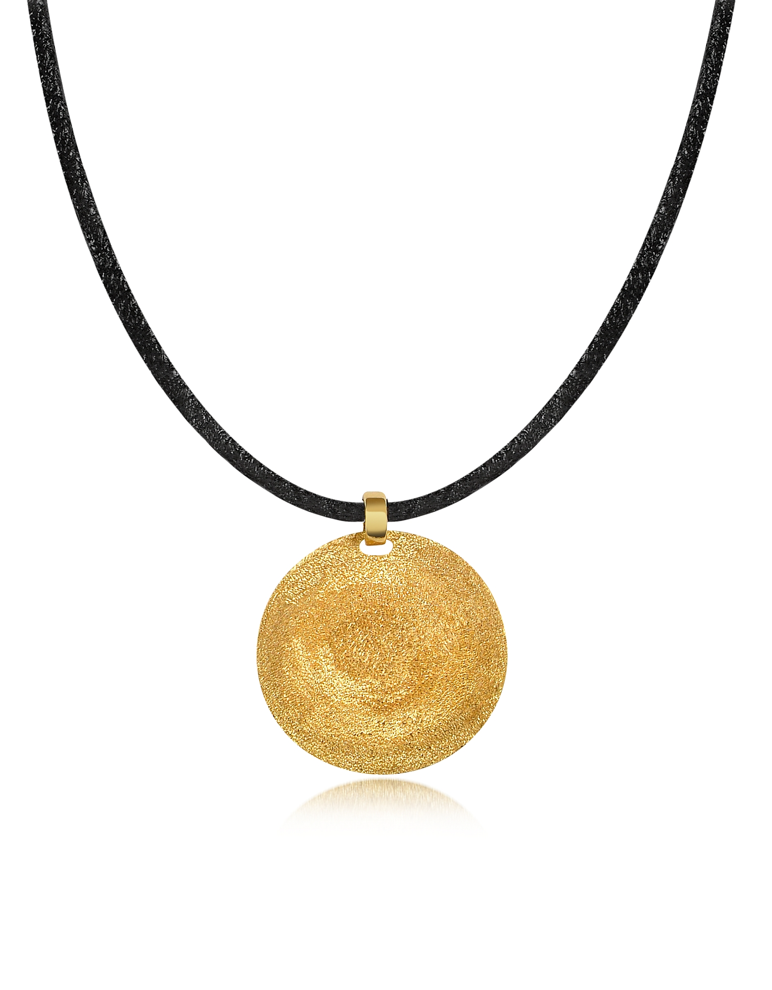 Stefano Patriarchi Necklaces, Golden Silver Etched Small Round Pendant w/Leather Lace